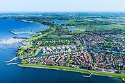 Nederland, Noord-Holland, Medemblik, 07-05-2018; overzicht van het de stad inclusief jachthavens en Kasteel Radboud. <br /> Overview of the city including marinas and Radboud Castle.<br /> <br /> luchtfoto (toeslag op standard tarieven);<br /> aerial photo (additional fee required);<br /> copyright foto/photo Siebe Swart