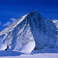 The seldom-seen northeast side of Mount Tyree (4852m), Antarctica's second highest mountain, towers above the Patton Glacier in the Ellsworth Mountains.