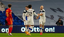 CARDIFF, WALES - Wednesday, November 18, 2020: Finland's Teemu Pukki (R) celebrates after scoring his side's first goal during the UEFA Nations League Group Stage League B Group 4 match between Wales and Finland at the Cardiff City Stadium. Wales won 3-1 and finished top of Group 4, winning promotion to League A. (Pic by David Rawcliffe/Propaganda)