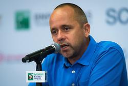 October 22, 2018 - Kallang, SINGAPORE - Philippe Dehaes, coach of Daria Kasatkina, talks to the media at the 2018 WTA Finals tennis tournament (Credit Image: © AFP7 via ZUMA Wire)