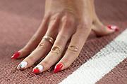 Justyna Swiety-Ersetic (Poland) hand / nails, before the 400 Metres Women Final during the 2019 IAAF World Athletics Championships at Khalifa International Stadium, Doha, Qatar on 3 October 2019.