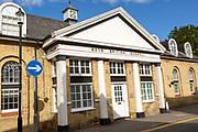 Historic building dated 1828 Boys' British School, Saffron Walden, Essex, England, UK