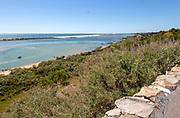 Coastal wooded landscape of pristine beaches and lagoon behind offshore sandbar, Cacela Velha, Vila Real de Santo António, Algarve, Portugal, Southern Europe - Ria Formosa Natural Park