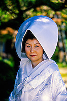 Japanese Bride in traditional Shinto wedding dress, Shrine Garden, Heian-Jingu (shrine), Kyoto, Japan