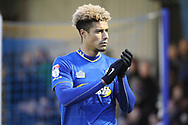 AFC Wimbledon striker Lyle Taylor (33) clapping during the EFL Sky Bet League 1 match between AFC Wimbledon and Northampton Town at the Cherry Red Records Stadium, Kingston, England on 10 February 2018. Picture by Matthew Redman.