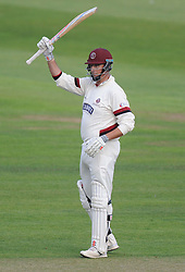 Somerset's Marcus Trescothick celebrates his his half century. - Mandatory byline: Alex James/JMP - 07966386802 - 09/09/2015 - FOOTBALL -  - The County Ground - Taunton  - Somerset v Hampshire - LV CC -