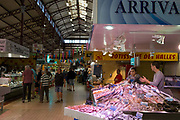 Interior of Les Halles central market building, on 23rd May, 2017, in Narbonne, Languedoc-Rousillon, south of France.