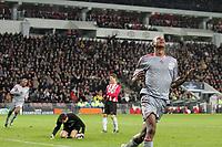 eindhoven, 09-12-2008, psv - liverpool<br /> david n'gog viert zijn doelpunt. op de achtergrond de verslagen psv doelman andreas isaksson