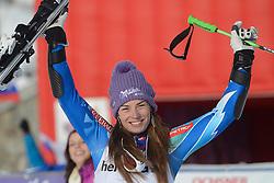 09.12.2012, Engiadina Rennstrecke, St. Moritz, SUI, FIS Ski Alpin Weltcup, Riesenslalom, Damen, 2. Lauf, im Bild Tina Maze (SLO) jubelt auf dem Podium reacts // after her 2nd run of ladies Super G of FIS ski alpine world cup at the Engiadina course, St. Moritz, Switzerland on 2012/12/09. EXPA Pictures © 2012, PhotoCredit: EXPA/ Freshfocus/ Andreas Meier..***** ATTENTION - for AUT, SLO, CRO, SRB, BIH only *****