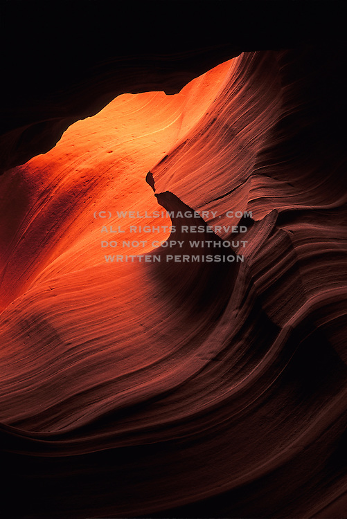 Image of sandstone detail in Antelope Canyon at Slot Canyon in Arizona, American Southwest, Antelope Canyon-Lake Powell Navajo Tribal Park by Randy Wells