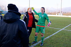 ZENICA, BOSNIA AND HERZEGOVINA - Tuesday, November 28, 2017: Wales' goalkeeper Laura O'Sullivan and Shaunna Jenkins celebrate after the 1-0 victory over Bosnia and Herzegovina during the FIFA Women's World Cup 2019 Qualifying Round Group 1 match between Bosnia and Herzegovina and Wales at the FF BH Football Training Centre. (Pic by David Rawcliffe/Propaganda)