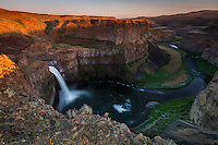 Palouse Falls at sunset in Southeastern Washington on a warm late Spring cloudless day.