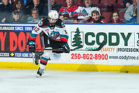 KELOWNA, BC - JANUARY 31: Turner McMillen #12 of the Kelowna Rockets skates in his first WHL game against the Spokane Chiefs at Prospera Place on January 31, 2020 in Kelowna, Canada. (Photo by Marissa Baecker/Shoot the Breeze)