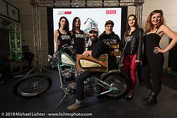Custom builder Andrea Radaelli of Radikal Choppers in Milan gets a Best of Show award for his custom Shovelhead in LowRide Magazine Italy's bike show award ceremony at Motor Bike Expo. Verona, Italy. Sunday January 21, 2018. Photography ©2018 Michael Lichter.
