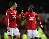 Zlatan Ibrahimovic of Manchester United and Eric Bailly of Manchester United during the English Premier League match at Old Trafford Stadium, Manchester. Picture date: December 11th, 2016. Pic Simon Bellis/Sportimage
