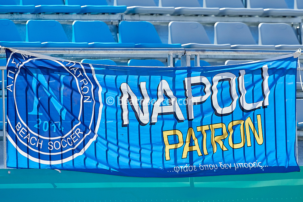 NAZARE, PORTUGAL - JUNE 1: Napoli Patron BSC flag during the Euro Winners Challenge Nazaré 2019 at Nazaré Beach on June 1, 2019 in Nazaré, Portugal. (Photo by Jose M. Alvarez)