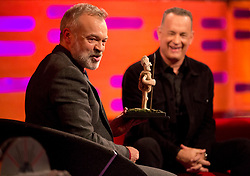 Host Graham Norton (left) and Tom Hanks during filming of the Graham Norton Show at The London Studios, to be aired on BBC One on Friday.