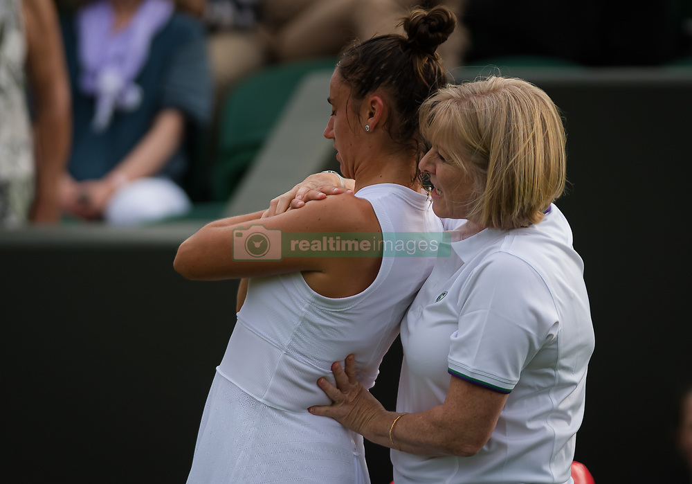July 1, 2019 - London, GREAT BRITAIN - Sara Sorribes Tormo of Spain in action during her first round match at the 2019 Wimbledon Championships Grand Slam Tennis Tournament against Caroline Wozniacki of Denmark (Credit Image: © AFP7 via ZUMA Wire)