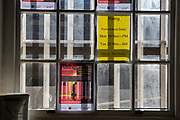 Sunlight shines through a window which illuminates posters advertising a theatre play in Her Majesty's Prison Pentonville, London, United Kingdom. The play is called Rising and about someone who has recently been released from prison. The theatre company is Cardboard Citizens and is the UK's only homeless people's professional theatre company.  (Photo by Andy Aitchison)