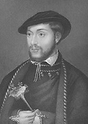 John Dudley, Duke of Northumberland (1520?-1553) married his son to Lady Jane Grey and opposed the succession of Mary I. Engraving after the portrait by Holbein.