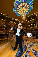 Goofy wearing a tuxedo, atrium lobby, Disney Dream cruise ship sailing between Florida and the Bahamas