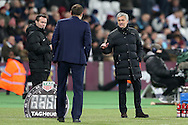 Jose Mourinho, the Manchester United manager talking to Slaven Bilic, the West Ham United manager on the touchline. Premier league match, West Ham Utd v Manchester Utd at the London Stadium, Queen Elizabeth Olympic Park in London on Monday 2nd January 2017.<br /> pic by John Patrick Fletcher, Andrew Orchard sports photography.