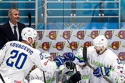 Sabahudin Kovacevic of Slovenia and Andrej Hebar of Slovenia celebrate during ice hockey match between Hunngary and Kazakhstan at IIHF World Championship DIV. I Group A Kazakhstan 2019, on May 3, 2019 in Barys Arena, Nur-Sultan, Kazakhstan. Photo by Matic Klansek Velej / Sportida
