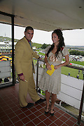 Julien Draper  and Calypso Lawrence. Glorious Goodwood. 2 August 2007.  -DO NOT ARCHIVE-© Copyright Photograph by Dafydd Jones. 248 Clapham Rd. London SW9 0PZ. Tel 0207 820 0771. www.dafjones.com.