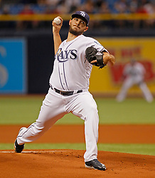 April 13, 2018 - St. Petersburg, Florida, U.S. - JIM DAMASKE   |   Times.Rays pitcher Jake Faria (34) throws during the Rays game against the Phillies at Tropicana Field Friday night 4/13/2018. (Credit Image: © Jim Damaske/Tampa Bay Times via ZUMA Wire)