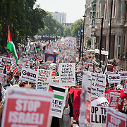 Protest against Israeli onslaught on Gaza in London.