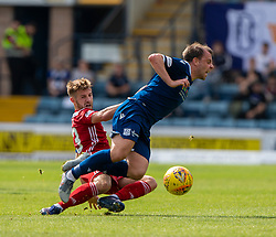 Ayr United's Ross Docherty and Dundee's Paul McGowan. Dundee 0 v 0 Ayr United, Scottish Championship game played 10/8/2019.