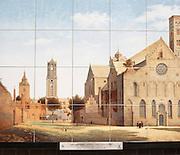 Ceramic tiles picture seventeenth century Mariakerke church, Mariaplaats, Utrecht, Netherlands