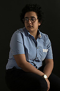 """Canada. Nouran Hussein, a refugee from Egypt, poses for a portrait before being photographed by  young photographer Mohamad Lazakani, aided by  his mentor Yasin Osman,  at the offices of Toronto-based charity JAYU, on Sunday April 14,  2019   as part of their    """"Am I wrong to Love"""" portrait series.<br /> The series forms part of an exhibition that explores the stories of 20 individuals from 12 different countries who have fled their home countries due to persecution because of their gender expression, gender identity, or sexual orientation."""