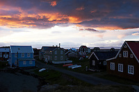 A scene from island Flatey, Iceland. Evening glow in the sky at 23.15, 28th of May. Flatey is the largest island of the western island, a cluster of about forty large and small islands and islets located in Breiðafjörður on the northwestern part of Iceland.