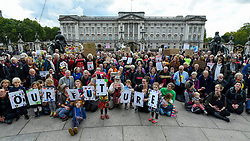 © Licensed to London News Pictures. 15/10/2019. LONDON, UK. Climate activists from Extinction Rebellion during a Grandparents protest on the Queen Victoria Memorial outside Buckingham Palace.  Activists are calling on the government to take immediate action against the negative effects of climate change.  Photo credit: Stephen Chung/LNP