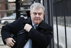 © Licensed to London News Pictures. 10/12/2018. London, UK. Brandon Lewis, Chairman of Conservative Party, is seen leaving Downing Street by the back entrance. The penultimate day of debate in the Brexit withdrawal deal is taking place in The House of Commons today.  Photo credit: Peter Macdiarmid/LNP