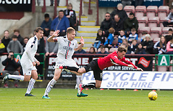 Dunfermline's David Hopkirk dives for a free kick, but doesn't get one. Dunfermline 1 v 2 Falkirk, Scottish Championship game played 22/4/2017 at Dunfermline's home ground, East End Park.