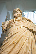 Marble statue of a Greek God in the British Museum in London, UK.