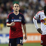 Harrison Shipp, (left), Chicago Fire,  during the New York Red Bulls Vs Chicago Fire, Major League Soccer regular season match at Red Bull Arena, Harrison, New Jersey. USA. 10th May 2014. Photo Tim Clayton
