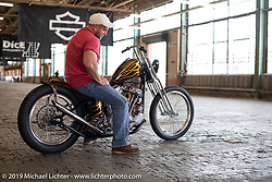 Dustin Cramer with his Jason Phares built custom 1948 Panhead on setup day at the Congregation Show in Charlotte, NC. USA. Friday April 13, 2018. Photography ©2018 Michael Lichter.