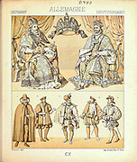 Ancient German fashion and lifestyle, 15th century from Geschichte des kostums in chronologischer entwicklung (History of the costume in chronological development) by Racinet, A. (Auguste), 1825-1893. and Rosenberg, Adolf, 1850-1906, Volume 3 printed in Berlin in 1888