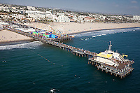 Aerial shot of the Santa Monica Pier, California, United States