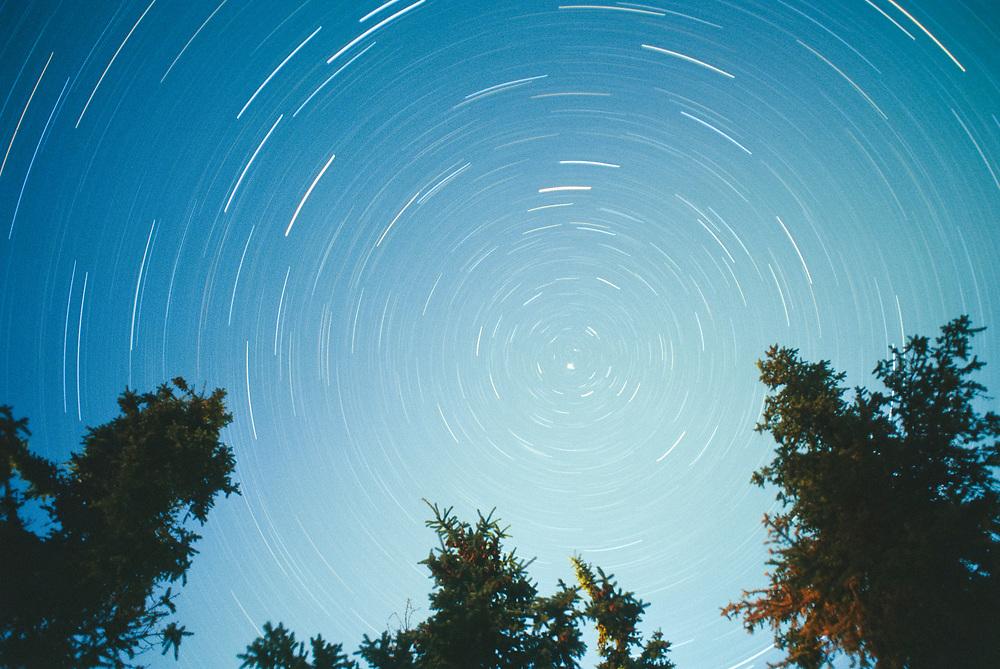 Alaska. Astronomical star trails.