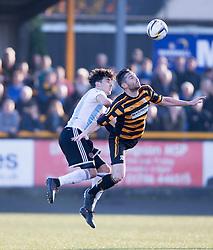 Hearts Callum Paterson and Alloa Athletic's Ben Gordon.<br /> Alloa Athletic 0 v 1 Hearts, Scottish Championship played at Recreation Park, Alloa.