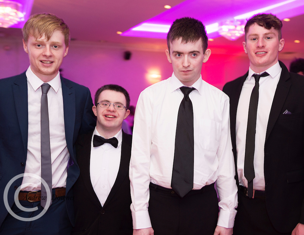 The Ability West Best Buddies Ball at the Menlo Park Hotel, Galway. Students from GMIT and NUIG buddy up with Ability West Service users for friendships that last a lifetime celebrated at this gala ball.<br /> Enjoying the night were Simon Murtagh NUIG<br /> Dara Geraghty,   Niall Noone and Dylan Somers NUIG<br />  Photo:Andrew Downes, xposure.