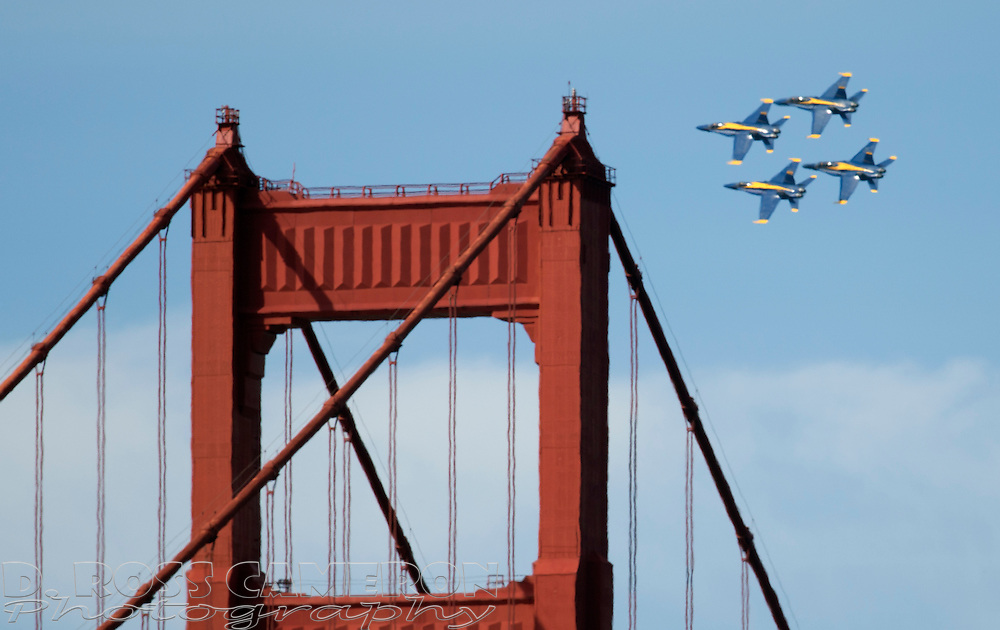 The Blue Angels precision flight team flies past the Golden Gate Bridge as the Bay Area prepares for the annual Fleet Week celebration, Friday, Oct. 7, 2016, in San Francisco. (Photo by D. Ross Cameron)