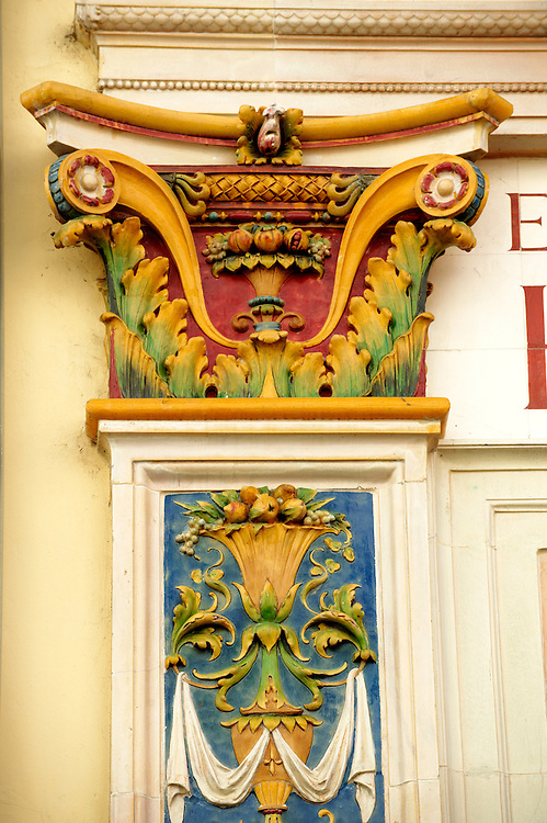 Zsolnay architectural features on the old Zoltan Csukas furniture shop Pecs ( Pécs ) - European Cultural City of The Year 2010 , Hungary .<br /> <br /> Visit our HUNGARY HISTORIC PLACES PHOTO COLLECTIONS for more photos to download or buy as wall art prints https://funkystock.photoshelter.com/gallery-collection/Pictures-Images-of-Hungary-Photos-of-Hungarian-Historic-Landmark-Sites/C0000Te8AnPgxjRg