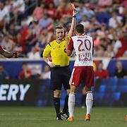 Matt Miazga, New York Red Bulls, is sent off by referee Alan Kelly during the New York Red Bulls Vs NYCFC, MLS regular season match at Red Bull Arena, Harrison, New Jersey. USA. 10th May 2015. Photo Tim Clayton
