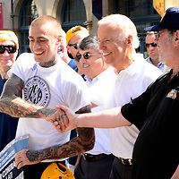 Vice President Joe Biden walks the parade route and greets supporters in the 2015 Labor Day parade in Pittsburgh on September 7, 2015.  Photo by Archie Carpenter/UPI