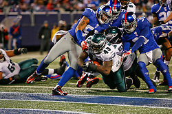 Philadelphia Eagles FB Leonard Weaver #43 scores a touchdown during the NFL game between the Philadelphia Eagles and the New York Giants on December 13th 2009. The Eagles won 45-38 at Giants Stadium in East Rutherford, New Jersey. (Photo By Brian Garfinkel)